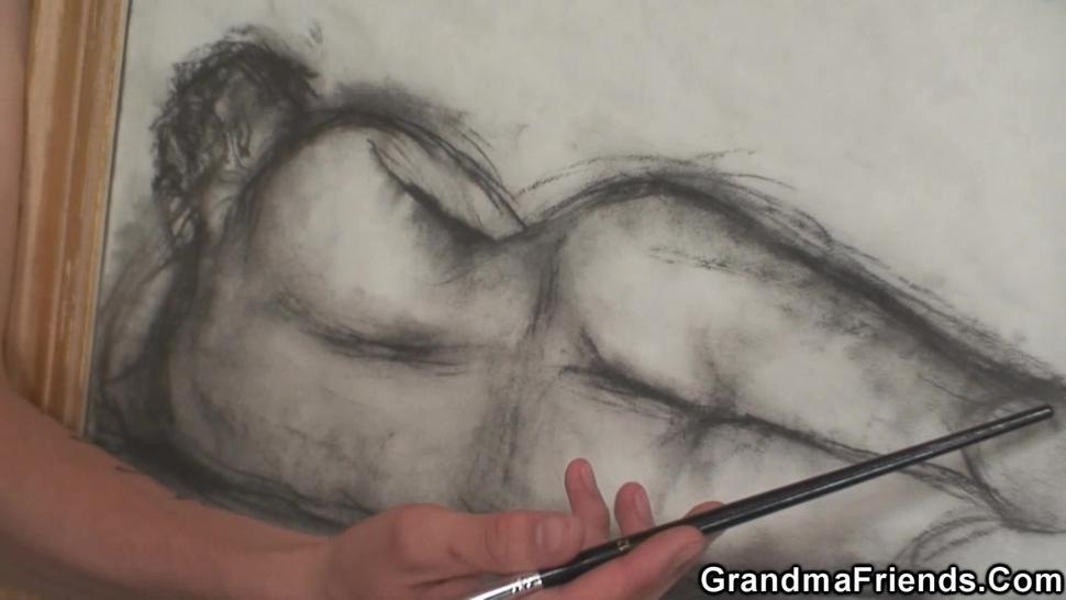 GRANDMA FRIENDS - Two boys teen share old mature woman