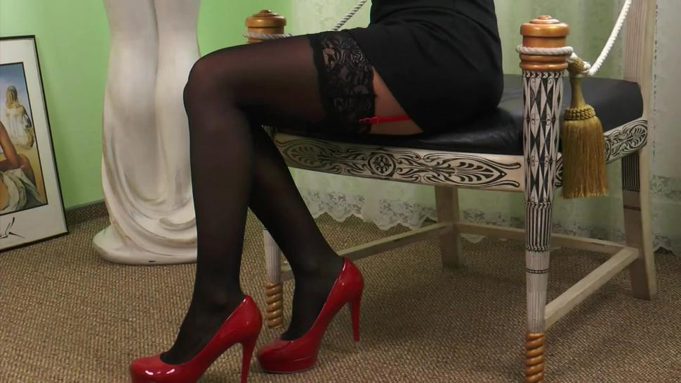 Black stockings and red garters