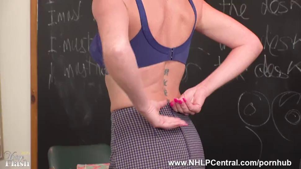 Spunk all over miss Holly Kiss Wide Open on Desk in Mini Open Girdle Nylons