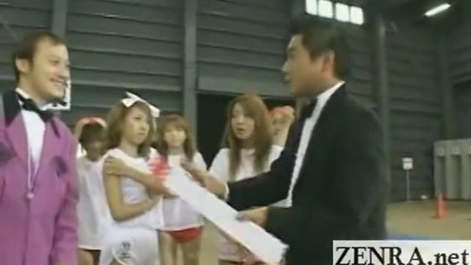 Subtitled Japanese gyaru group play musical CFNM game