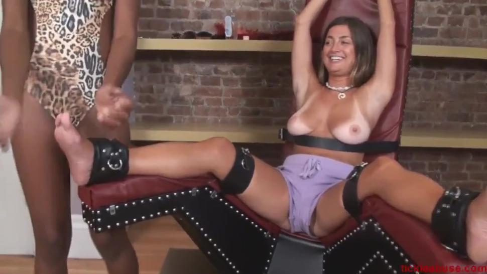Woman tickles milfs feet