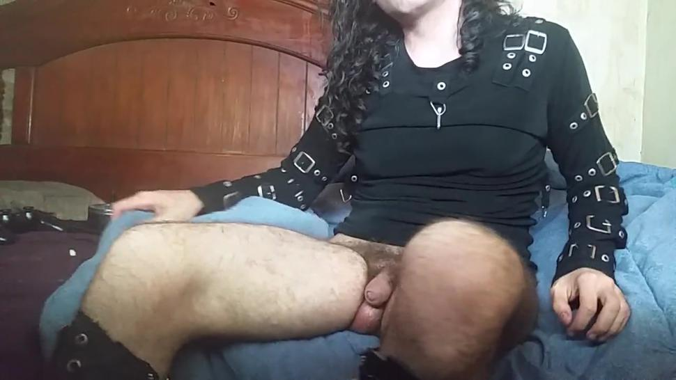 Self suck dressed in goth metal bdsm clothes and makeup long hair