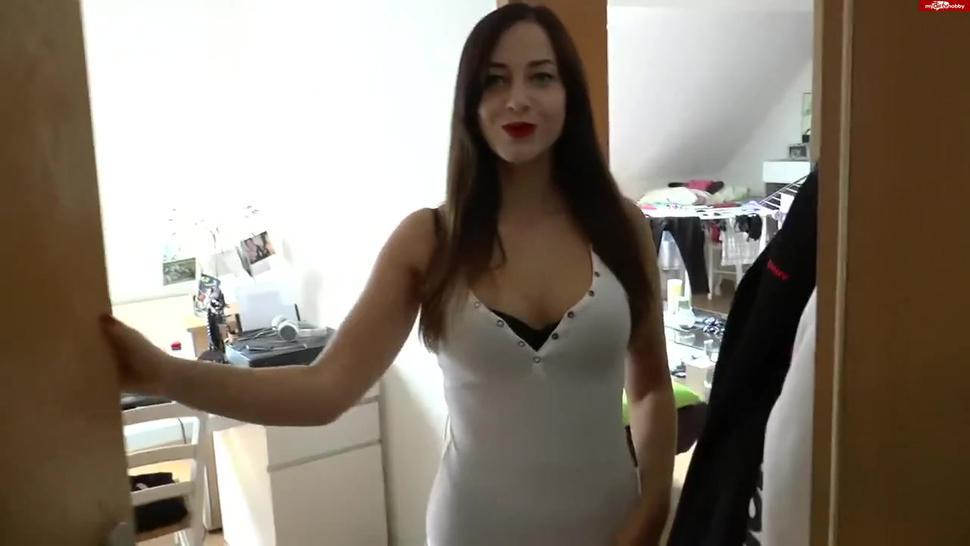 Chloe in leather dress