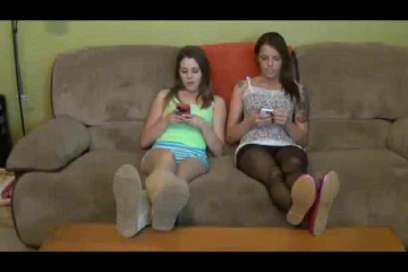 Nylon pantyhose/bdsm/nylon sisters feet worship two