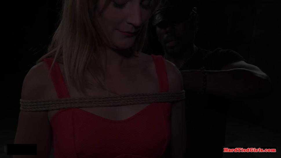 Sub slut toyed by dom while choking on dildo