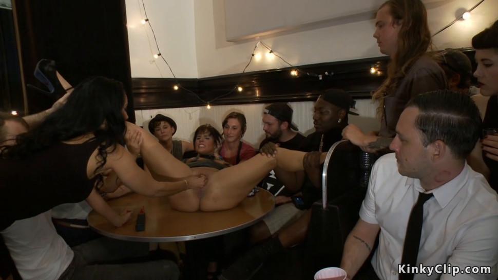 Bound slut is fucked in public bar