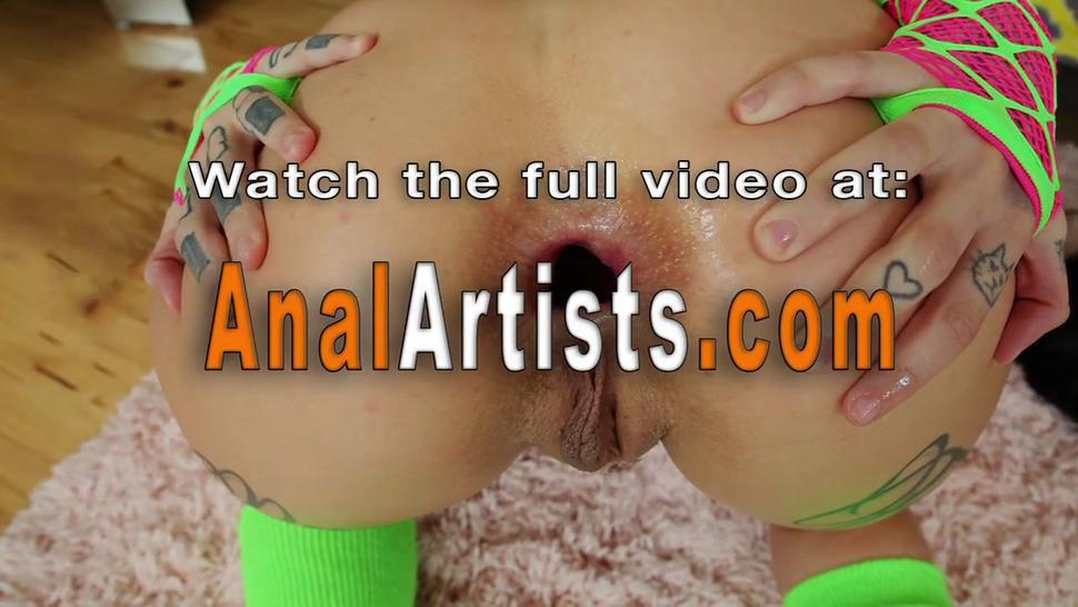 Lesbian butts decorate with paint enemas