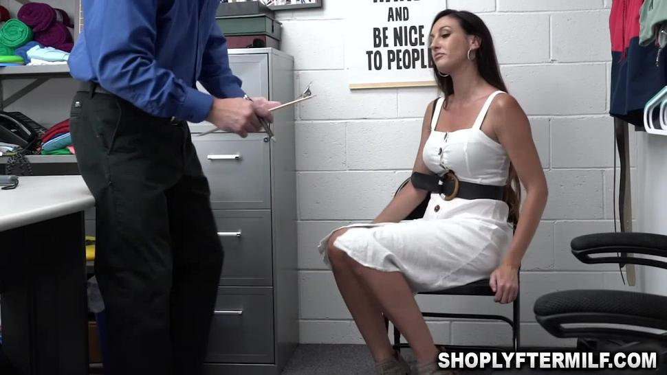 Sexy mature shoplifter begging the officer not to lock her up