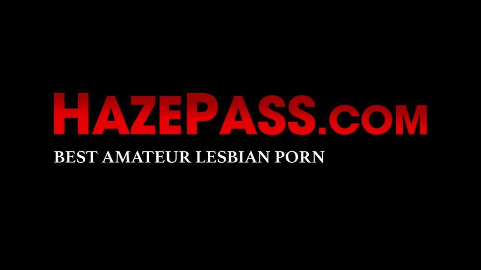 HAZE PASS - Lesbians use dildos to fuck young and gorgeous college babes