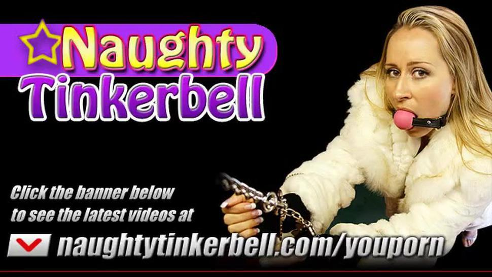 Naughty Tinkerbell does extreme pussy and anal stretching before taking facial cumshot