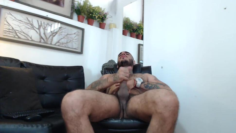 Webcam man with cock big dick masturbates and plays with his cock