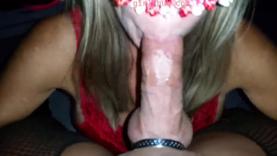 bicycle wifey in mask gives a hands free cum in mouth blowjob hijab tube