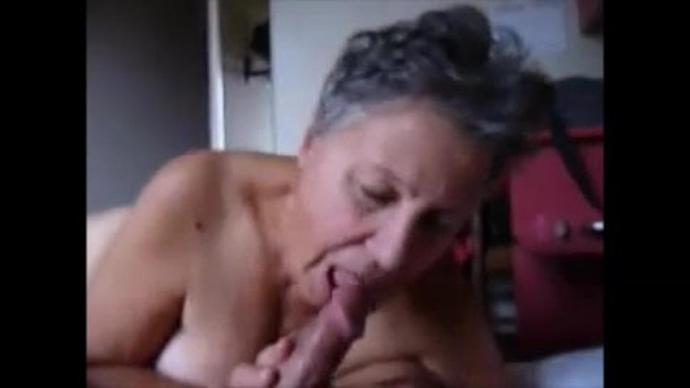 Crazy grandma making cum dick with a tongue job and hand