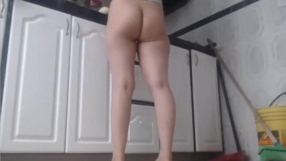 Hairy Babe Nice Nude Ass In Her Kitchen Voyeur