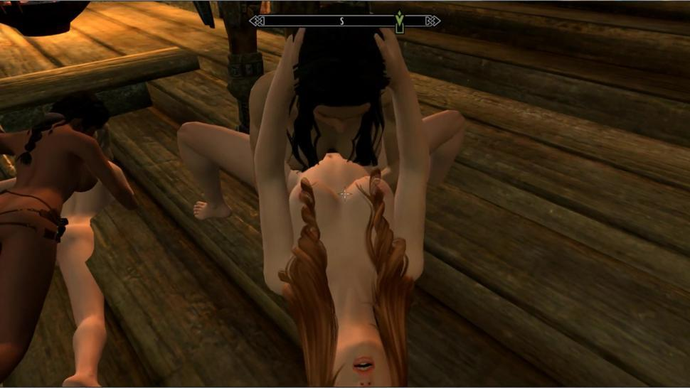 Lesbian Orgy In The Castle Palace!  Skyrim sex mods, Porno Game 3d