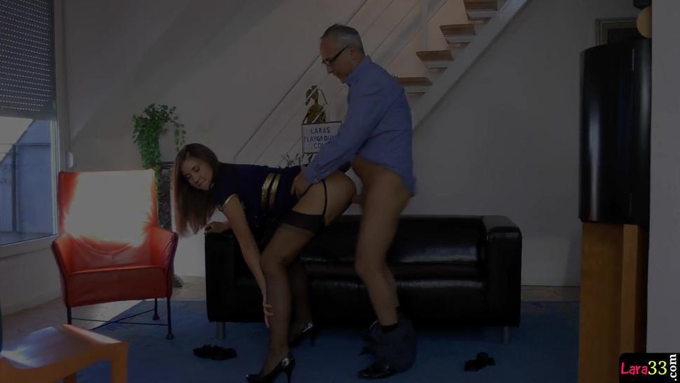 Doggystyled Milf Enjoys Threeway Sex - Lara Latex