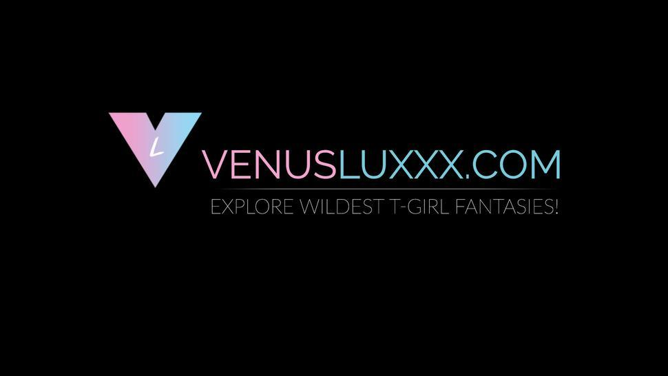 VENUS LUXXX - Busty Asian tranny Venus Lux wanking off during hot shower