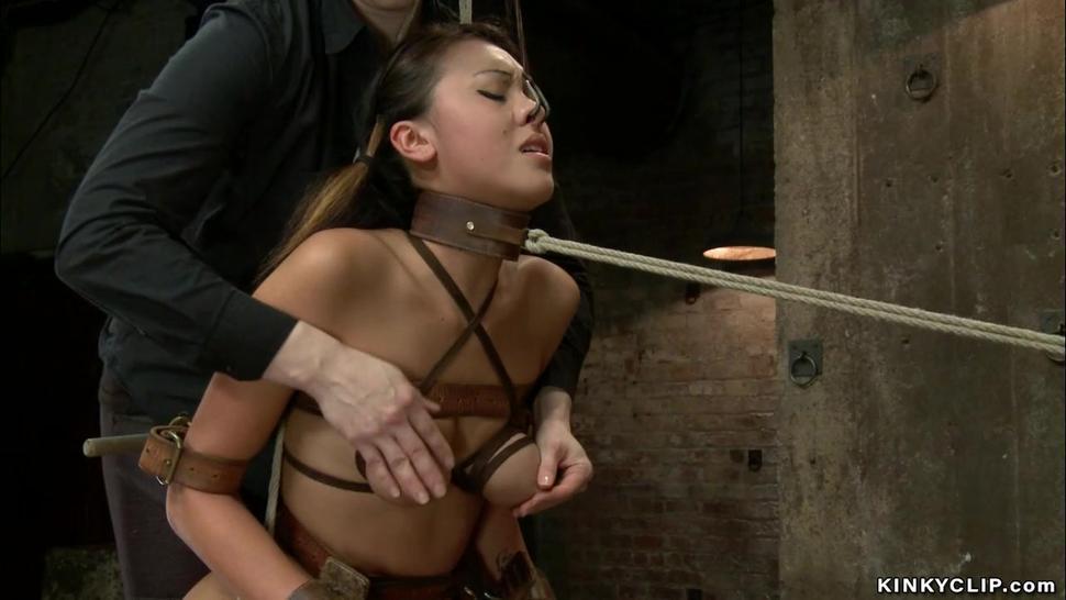 Petite Asian lesbian spanked in bondage