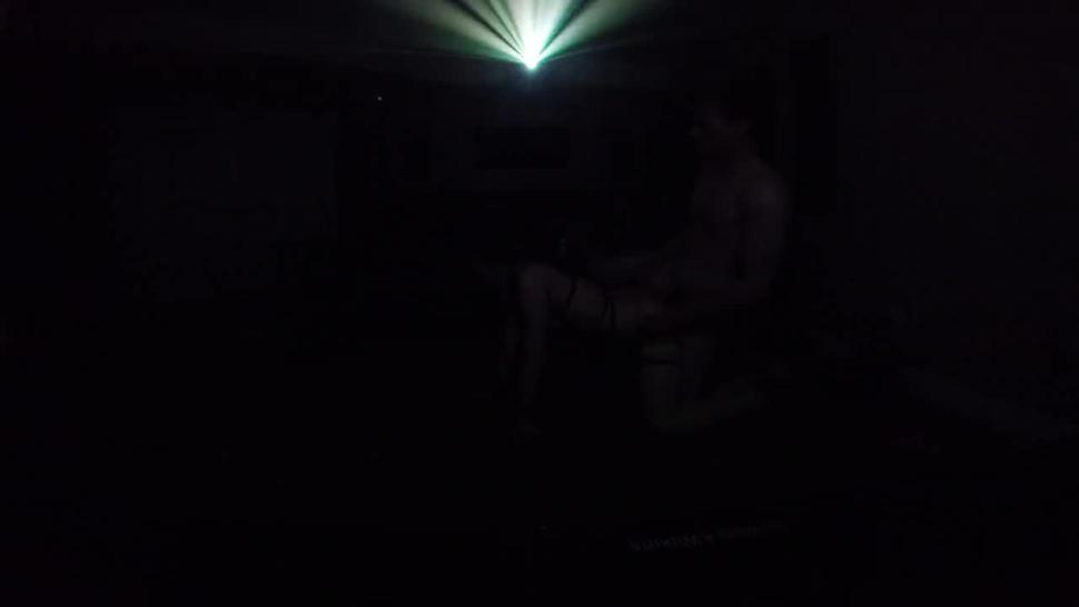 fun with a rave slut in friends theater room during party