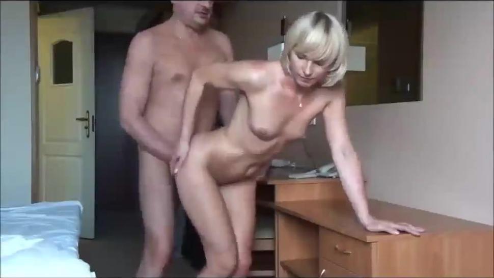 Petite Amateur Blonde Takes Bf'S Boner From Behind