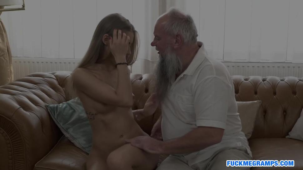 Delicious blondie fucked by ugly old man