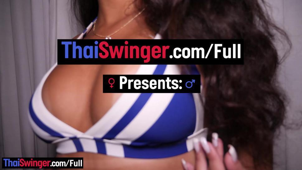 THAI SWINGER - Curvy Brazilian amateur hottie sucks and fucks on camera with a smile