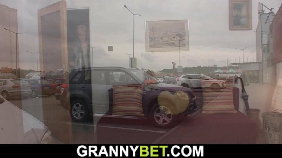 GRANNYBET - He fucks skinny blonde 50 years old mature woman