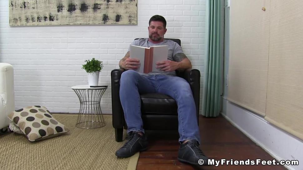 Bearded hunk feet close up jerks off solo until shooting cum