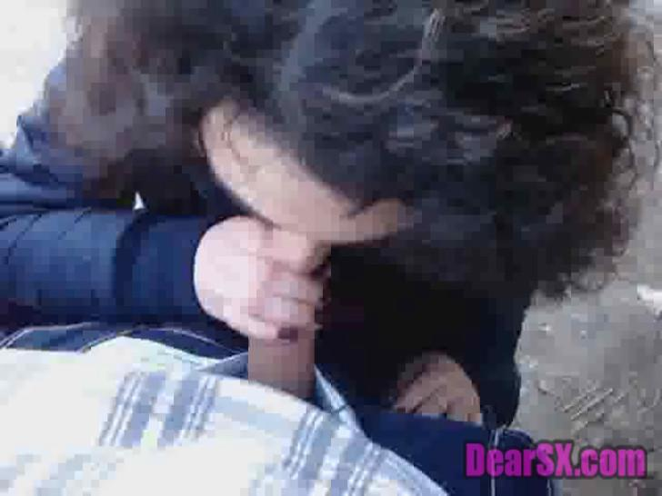 French EMO Couple Outdoor Blowjob
