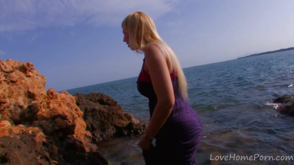 Blonde-sucks-cock-gets-fucked-at-beach Tits