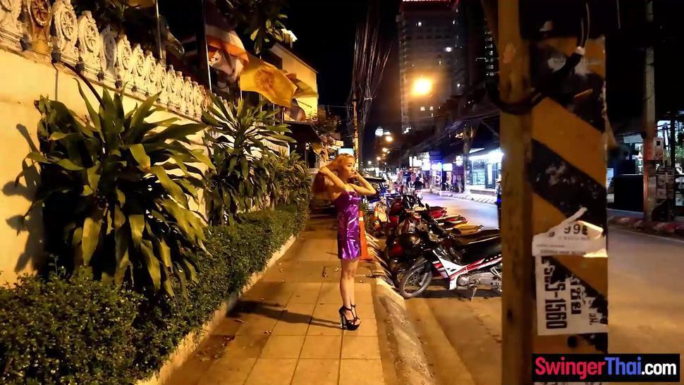 Tiny Thai amateur hooker sucks and fucks a huge cock Western client
