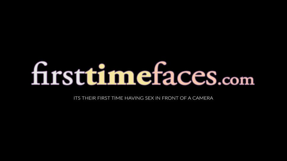 FIRST TIME FACES - First time ebony slut Legacy Premier rides big white cock