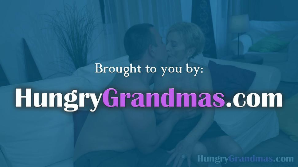 Horny granny loves to suck and fuck a big cock