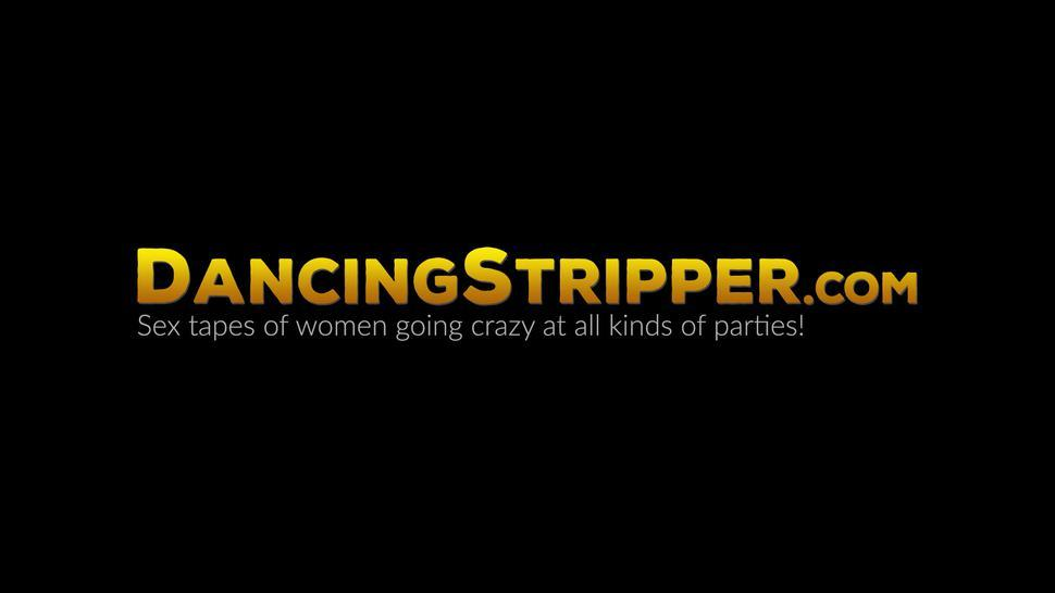 DANCING STRIPPER - Sexy glasses babe deepthroating rock hard cock