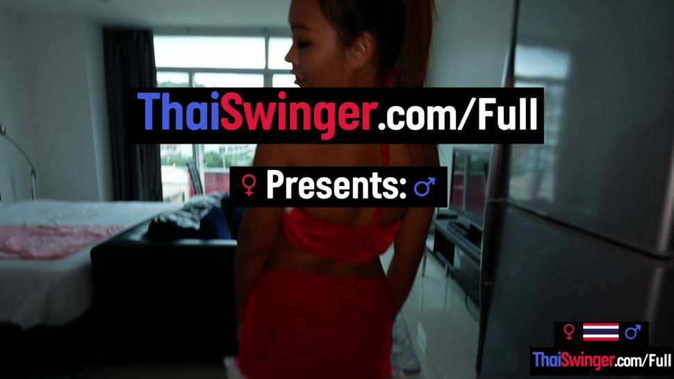 THAI SWINGER - Thai amateur teen pussy squirts before hardcore anal sex from behind