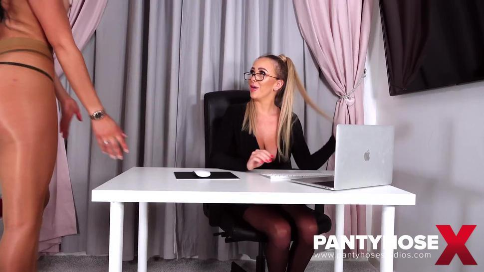Sexy Secretary In Pantyhose Stripped By Her Erotic Gf