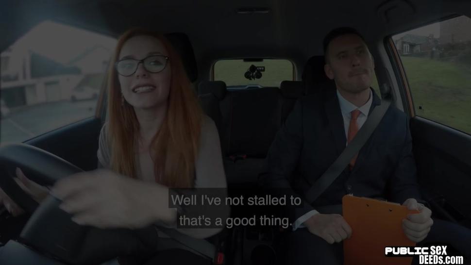 FAKEHUB - Public ginger babe doggystyled in car exam