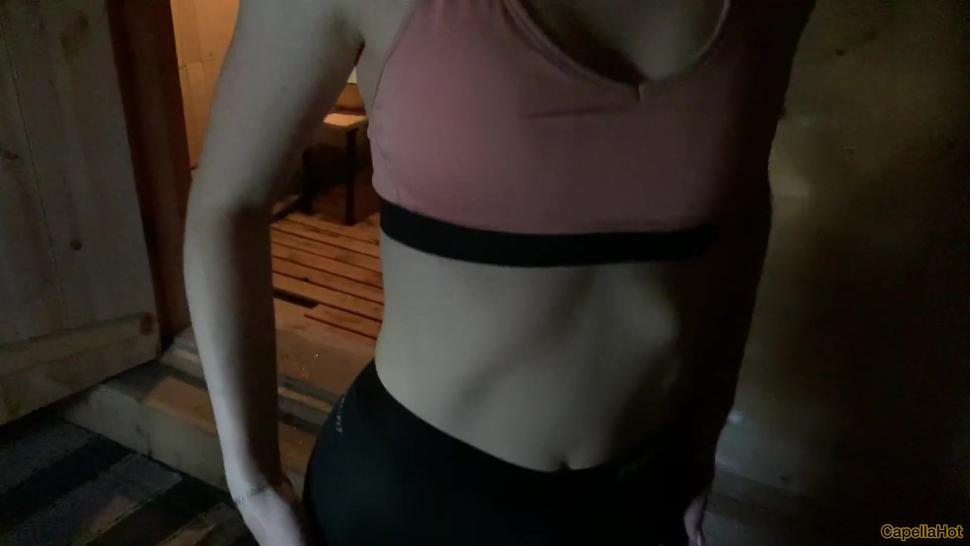 Athletic girl gives a Blowjob in the sauna. Cum in mouth
