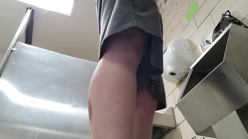 cruising and jerking off in public bathroom huge cum load uncut dck