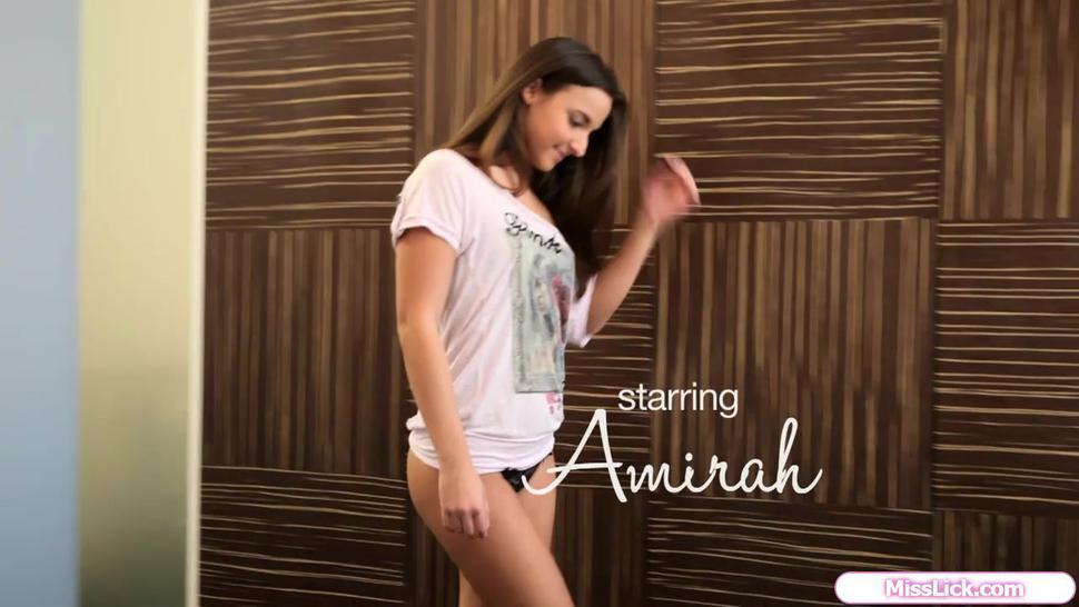 Beauty Amirah Adara masturbates and toying her shaved pussy