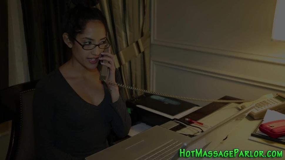 Hot masseuse sucks dicks in threeway
