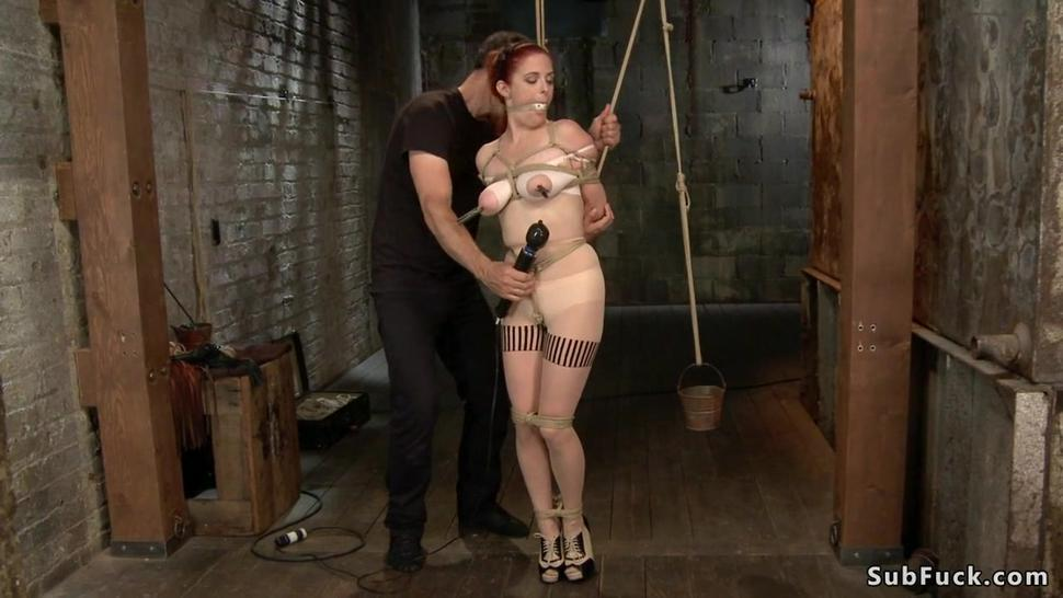 Busty redhead anal toyed in pile driver