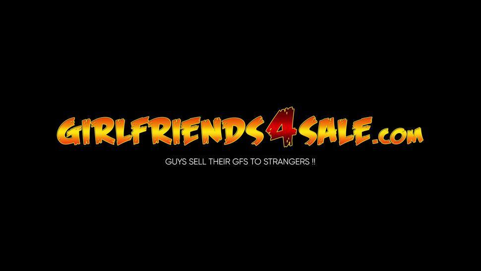 GIRLFRIENDS 4 SALE - Pretty girlfriend cuckolds her man while he holds her hand