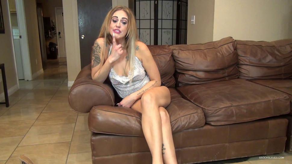 Mistress socks and feet worship slave - video 2