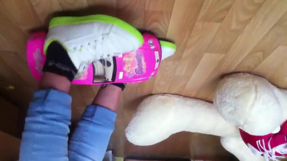 sneakers toy car crush by russian girl