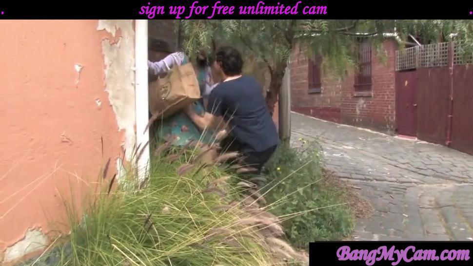 BUSTY MILF - outdoor creampie