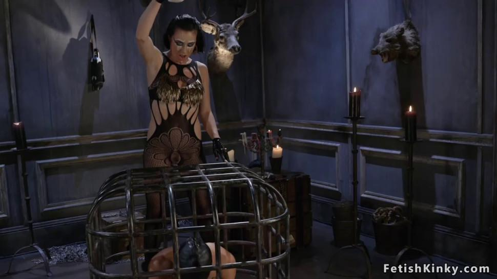 Domme in lingerie anal toys male slave