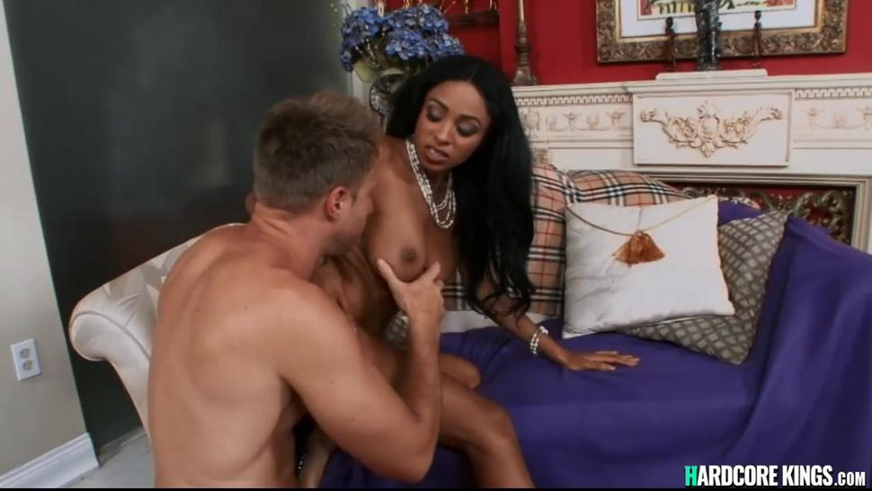 Big boobs ebony fucks big white cock