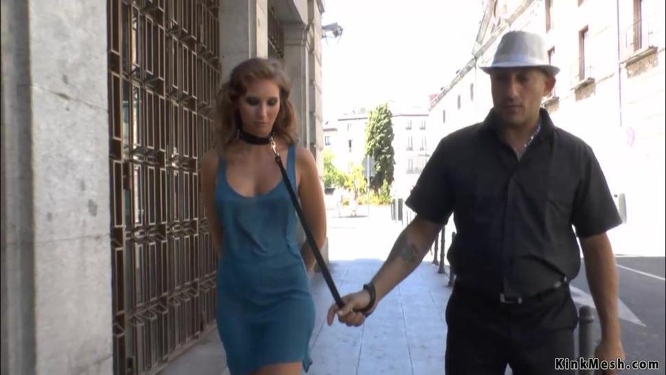 Brunette in blue dress public disgraced