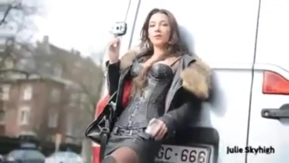 The incredible Julie Skyhigh smoking sexy on the street